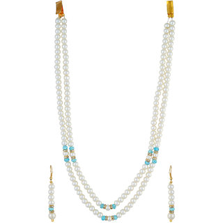 VISHAKA PEARLS  JEWELLERS Light Blue and White Double Line Pearl Set