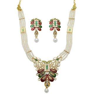 Mithya by JewelMaze Zinc Alloy Gold Plated Maroon And Green Meenakari  Kundan Necklace Set-DAA0046