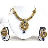Dark Blue Drop Pendant Necklace Set
