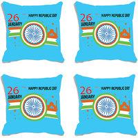 MeSleep Blue Chakra Happy Republic Day India Digital Printed Cushion Cover (16x16)-Set Of 4
