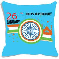 MeSleep Blue Chakra Happy Republic Day India Digital Printed Cushion Cover (16x16)