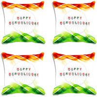 MeSleep White Happy Republic Day India Digital Printed Cushion Cover (16x16)-Set Of 4