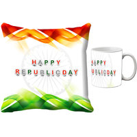 MeSleep White Happy Republic Day India Digital Printed Cushion Cover (16x16)-With Mug