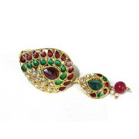 Maroon Drop Tilak Brooch Pin