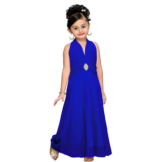 Aarika Blue Girls Self Design Gown