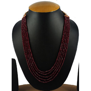 Aradhya Five Layer Dark Maroon Real Onyx Stone Beads Necklace for Women and Girls