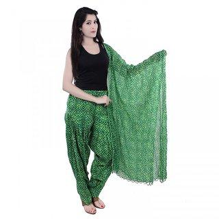 Rajat Fashion Pure Cottan Green Printed Patiaya With Dupattas
