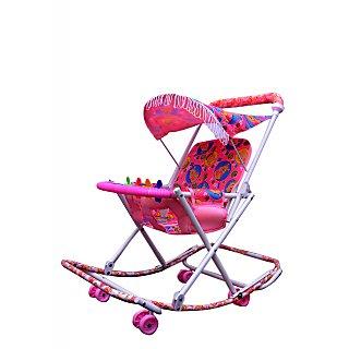 ABASR BABY KIDS MULTICOLOUR 3 IN 1 RASSI WALKER PINK