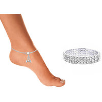 Sparkling Jewellery Pair Of Anklet and Bracelet Combo