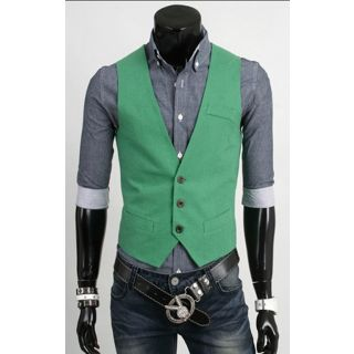 Cotton Slimfit Vest Jacket for men Green