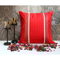 ANS Red Cushion Cover With Red Gold Brocade