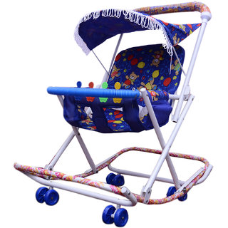ABASR BABY KIDS MULTICOLOUR 2 IN 1 WALKER BLUE FOLDABLE
