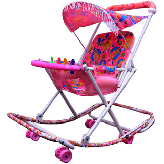 ABASR BABY KIDS MULTICOLOUR 3 IN 1 RASSI WALKER PINK