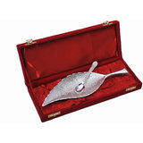 Rangsthali Silver Plated Brass Leaf Tray Set (2 Pcs) With Box