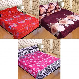 SNS Combo Of Three Cotton 100 Thread Count Double Bed Floral Poly Cotton Bed Sheets (Set of 2)