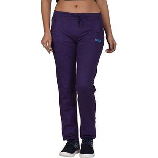 Be You Fashion Women Cotton Hosiery Purple Solid Track Pants