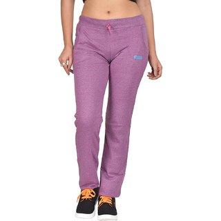 Be You Fashion Women Cotton Hosiery Purple Solid Melange Track Pants
