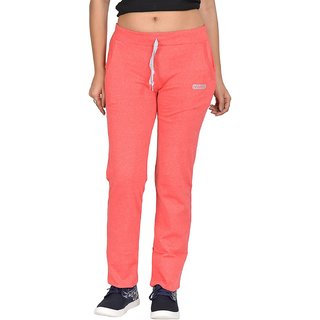 Be You Fashion Women Cotton Hosiery Peach Solid Track Pants