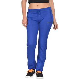 Be You Fashion Women Cotton Hosiery Dark Blue Solid Track Pants