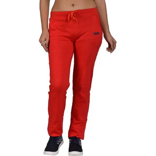 Be You Fashion Women Cotton Hosiery Red Solid Track Pants
