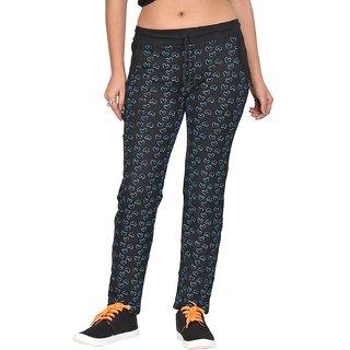 Be You Fashion Women Cotton Hosiery Black Printed Track Pants