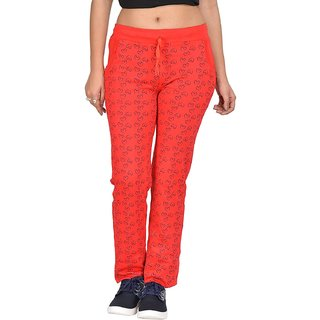 Be You Fashion Women Cotton Hosiery Red Printed Track Pants