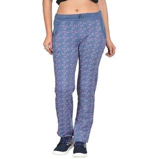 Be You Fashion Women Cotton Hosiery Blue Printed Melange Track Pants
