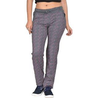 Be You Fashion Women Cotton Hosiery Charcoal Grey Printed Melange Track Pants