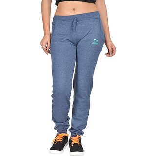 Be You Fashion Women Cotton Hosiery Blue Plain Melange Joggers Pants