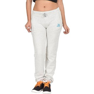 Be You Fashion Women Cotton Hosiery Light grey Plain Melange Joggers Pants