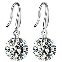 Mahi Rhodium Plated Delicate Fashion Crystal Solitaire Dangle Earrings for Women ER1109425R