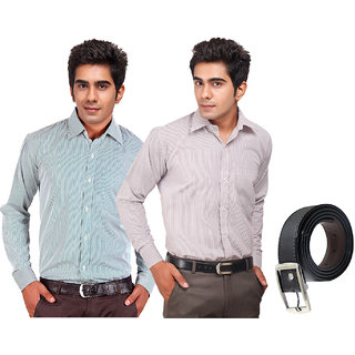 Pack Of Two Premium Quality Formal Shirts With A Free Belt(SHB1000)