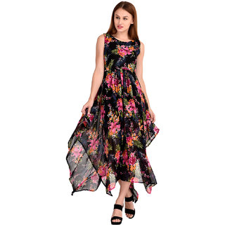 Westrobe Women's Black Floral Georgette Zig Zag Length Long Dress