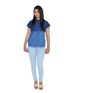 Jaamso Royals JRF005-Blue Shaded High Neck Frayed hem Cotton Denim shirt