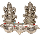 White Metal Lord Laxmi Ganeshas With Diya Set