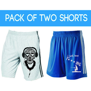 Demokrazy Blue White Printed Sports Shorts For Mens (Pack Of 2)
