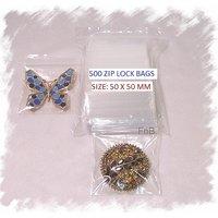 100 ZIP LOCK PLASTIC BAG FOR JWELLERY, ART, KEY, MEDICINE ETC, SIZE: 50 X 50 MM