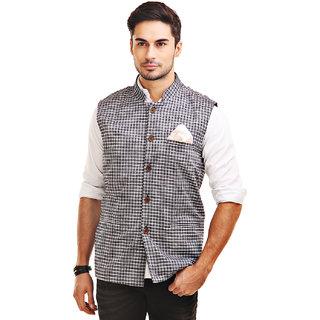 Chokore Mens Reversible Grey with Black White Checks / Black Cotton Nehru Jacket