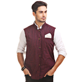 Chokore Mens Reversible Black Red Checks / Black Cotton Nehru Jacket