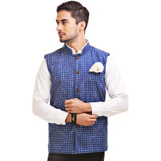 Chokore Mens Reversible Blue with White Checks / Blue Cotton Nehru Jacket