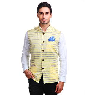 Chokore Mens Reversible Yellow with Blue Stripes / Blue Cotton Nehru Jacket