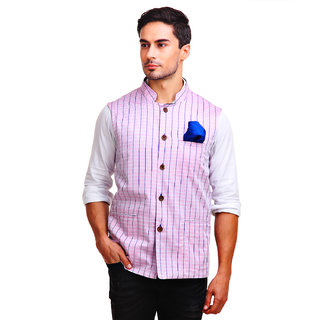 Chokore Mens Reversible Pink with White Blue Checks / Blue Cotton Nehru Jacket