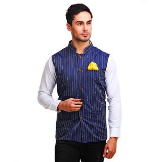 Chokore Mens Reversible Blue with Beige White Stripes / Beige Cotton Nehru Jacket