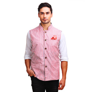 Chokore Mens Reversible Red White Stripes / Black Cotton Nehru Jacket