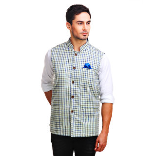 Chokore Mens Reversible Off white with Blue Green Checks / Blue Cotton Nehru Jacket