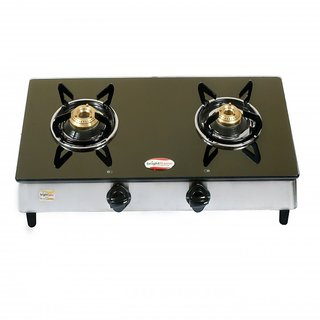 Brightflame 2 Burner Black Glass Stove Tulip