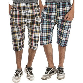 Mens Multicolor Checkered Pack of Two 3/4th Capris