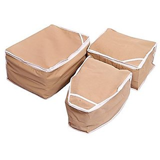 Kuber Industries Saree Cover Blouse Cover Peticot Cover Set Of 3 Pcs (Non Woven) Beige KI0086270