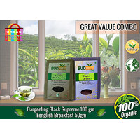 Darjeeling Black Supreme Tea (100 Gm Pack) + English Breakfast Tea (50 Gm Pack)