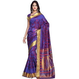 Varkala Silk Sarees Woven Art Silk Paisley Pallu SareeRoyal Blue and RedJP7105RBRD